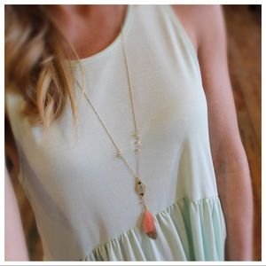 Gold dipped coral feather bead detail necklace